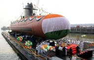 Kalvari, the first ship of Scorpene class submarines, set afloat