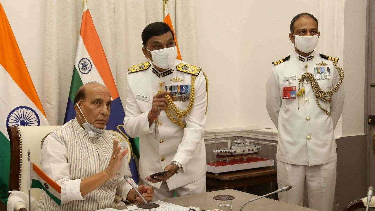 Rajnath Singh Commissions Indigenously Made Indian Coast Guard Ship 'Sachet', Two Interceptor Boats
