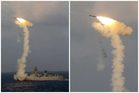 'Fireworks At Sea': Video Of Missile Tests from Warships Released by Indian Navy on Diwali; Watch it Here