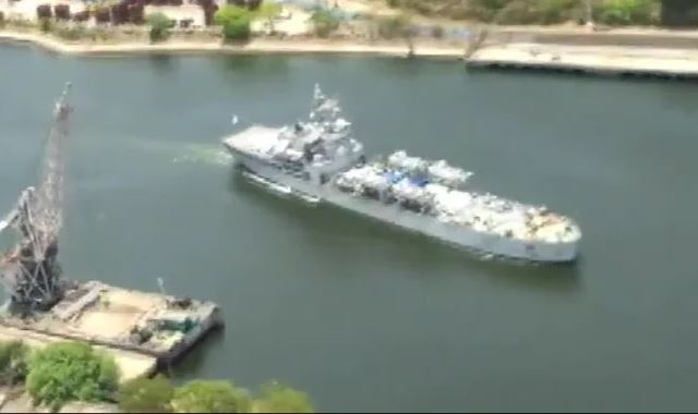 INS Airavat Reaches Visakhapatnam From Singapore With Covid Medical Aid
