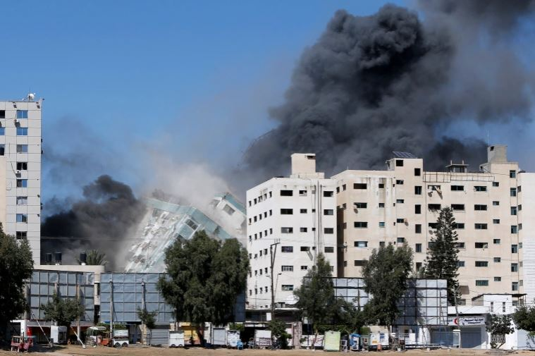 Gaza Tower Housing Al Jazeera Office Destroyed By Israeli Attack