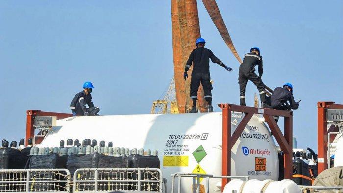 Indian Naval Ship Tarkash Brings Medical Oxygen To Mumbai From Qatar