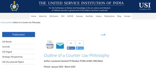 Outline Of A Counter UAV Philosophy By Lt Gen P R Shankar