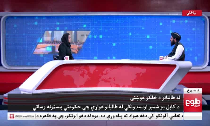 Female presenter interviews Taliban spokesman on Afghanistan television