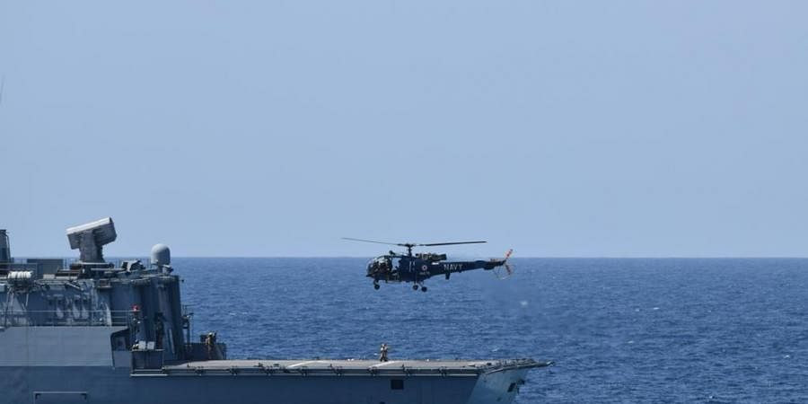 INS Trikand Exercises with German Frigate Bayern in Gulf of Aden