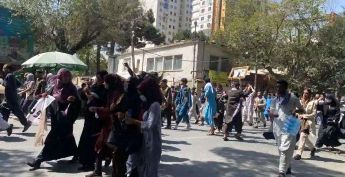 Taliban open fire to disperse demonstrators who chant anti-Pakistan slogans in Kabul