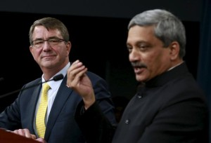 U.S. Defense Secretary Ash Carter & Defence Minister Manohar Parrikar in Washington Image Courtesy: Reuters